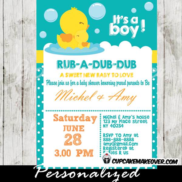Rubber Duck Baby Shower Invitation Personalized Cupcakemakeover