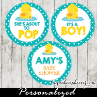 baby boy to love rubber duck baby shower favor tags toppers printable
