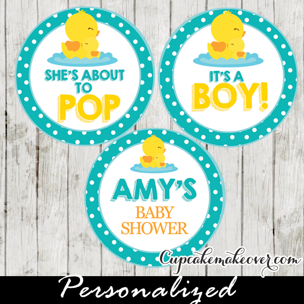 Rubber Duck Cupcake Toppers Personalized Tags