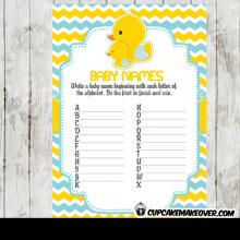 blue yellow gender neutral rubber duck baby shower games