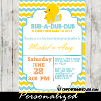 yellow and blue rubber duck baby shower invitations gender neutral