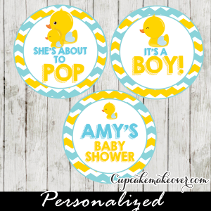 yellow and blue rubber duck cake or cupcake toppers personalized tags