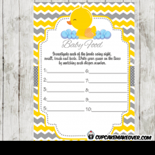 yellow grey rubber duck baby shower games gender neutral