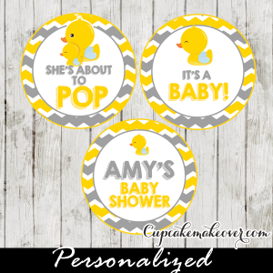 Yellow Amp Gray Rubber Ducky Cupcake Toppers Personalized Tags