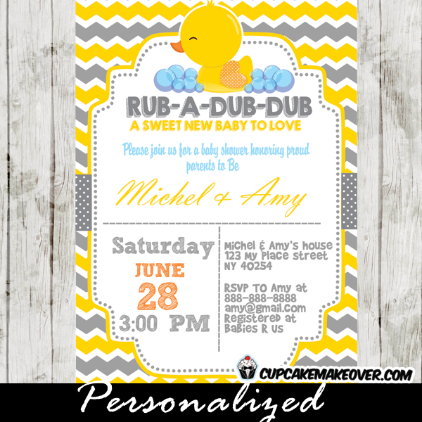 Yellow Gray Rubber Ducky Baby Shower Invitation Personalized