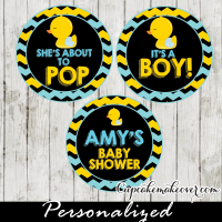 baby boy to love rubber duck baby shower favor tags cake toppers printable