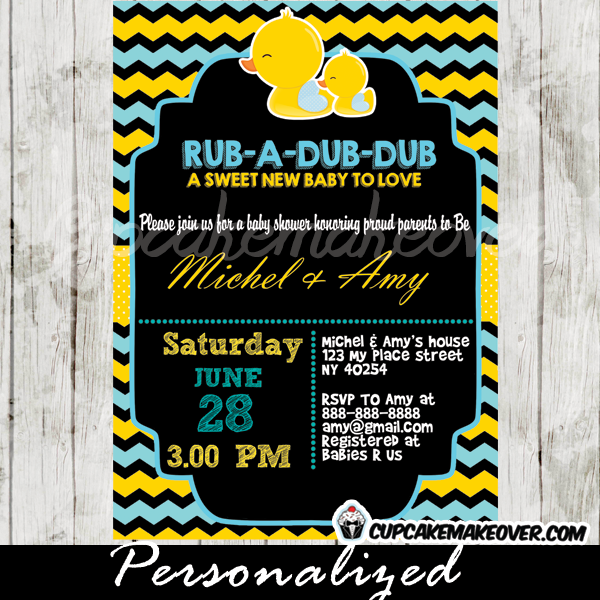 Chalkboard Yellow Blue Rubber Duck Baby Shower Invitation