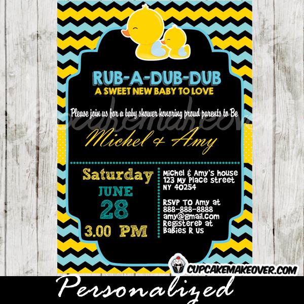 rub a dub dub boy rubber ducky invitations printable
