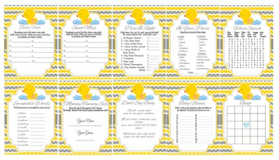 printable rubber duck baby shower games