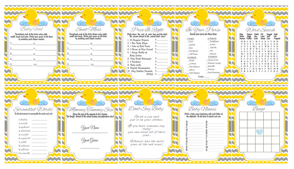 Yellow Amp Gray Rubber Ducky Baby Shower Games Cupcakemakeover