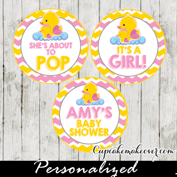 Yellow Pink Rubber Ducky Cupcake Toppers Personalized Tags