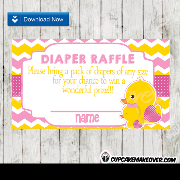 yellow pink chevron girl rubber duck diaper raffle tickets