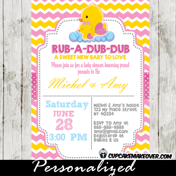 yellow pink chevron rubber duck baby shower invitation for girl