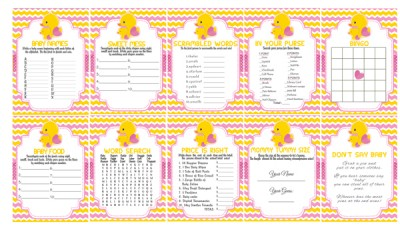 printable pink rubber duck baby shower games