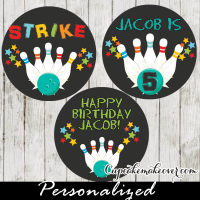 blue ball personalized bowling cupcake toppers favor tags for boys