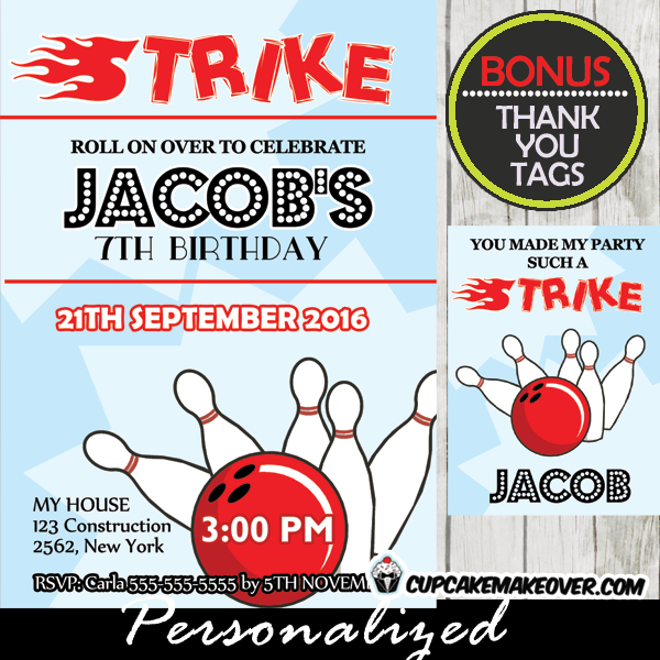 strike bowling birthday party invitations