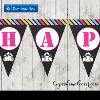 bowling party happy birthday banner for girls