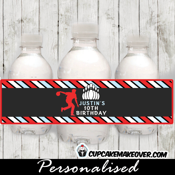 printable bowling party water bottle labels boys