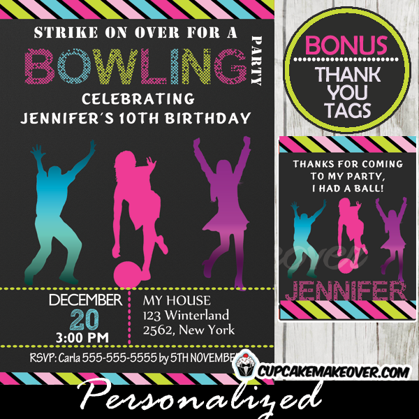 girls printable bowling party invitations