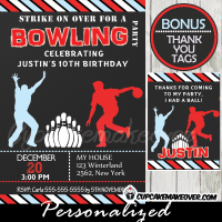 printable kids bowling party invitations