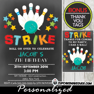 bowling birthday invitations for boys printable