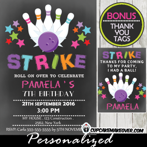 printable bowling birthday invitations for girls