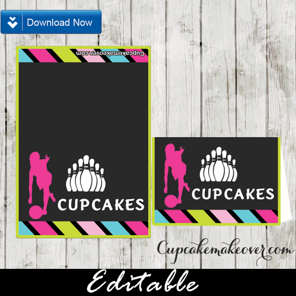 girls bowling party food ideas editable labels