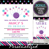 pink purple stars bowling birthday bash invitation girls