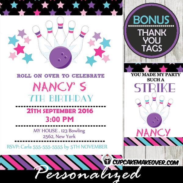 pink purple stars bowling birthday bash invitation girls