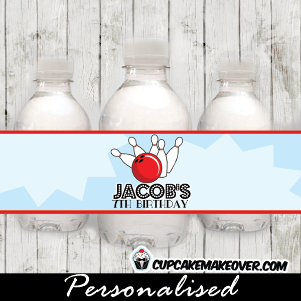 printable bowling party water bottle labels