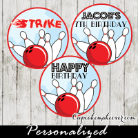 personalized bowling birthday cake toppers tags