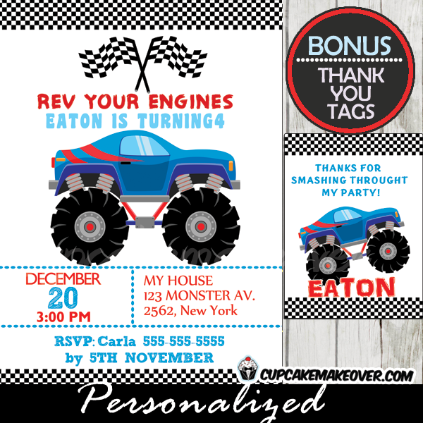 cool blue monster truck birthday party invitation for boys