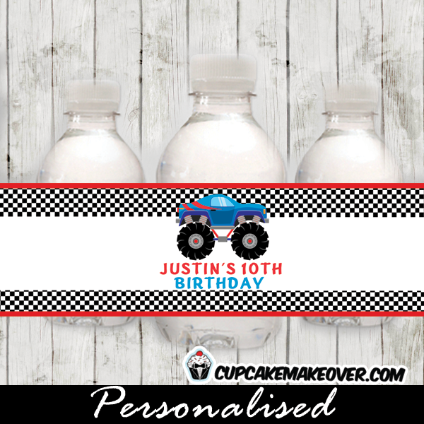 personalized monster truck water bottle labels