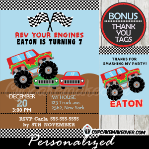 printable monster truck birthday invitations