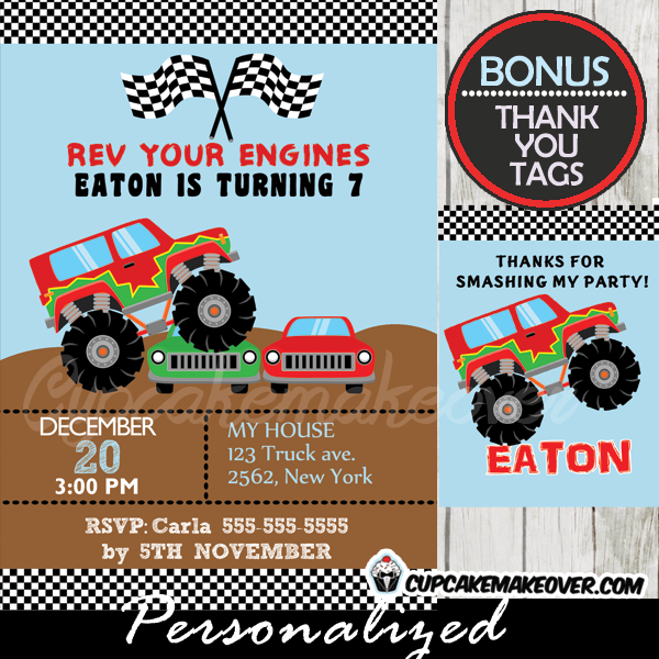 Monster Truck Birthday Party Invitation Personalized D1