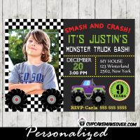 personalized monster truck photo invitation