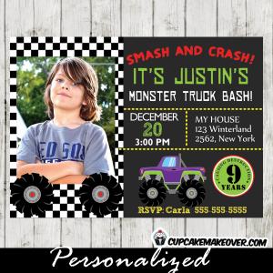 personalized monster truck photo invitation