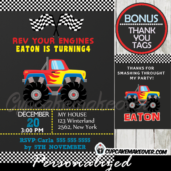 big red monster truck party invitation printable