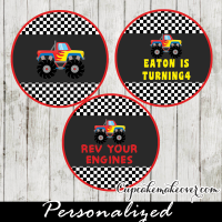 red monster truck cake toppers tags decoration
