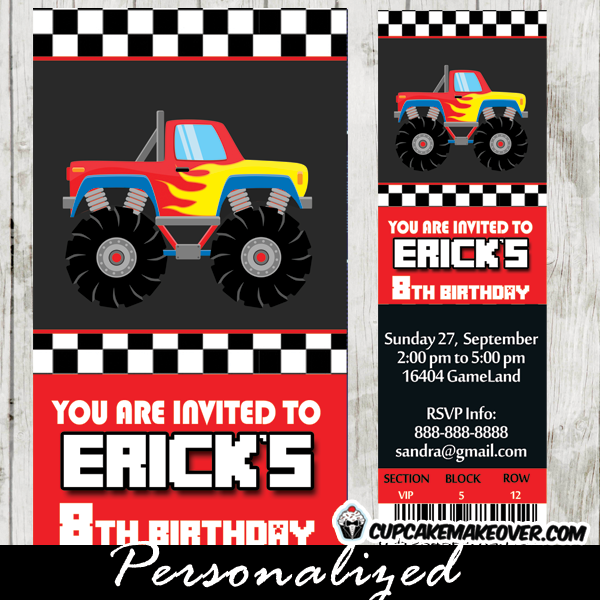 printable monster truck party ticket invitations