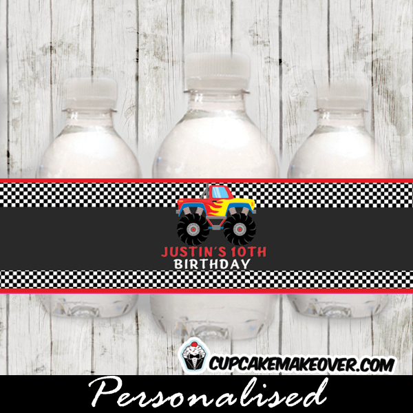 printable monster truck water bottle labels