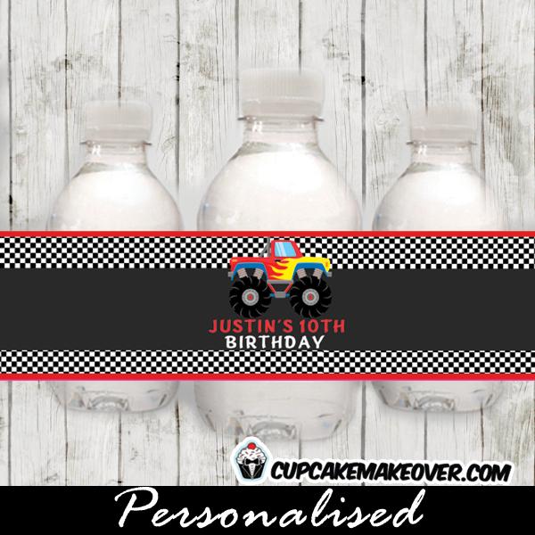 printable monster truck water bottle labels