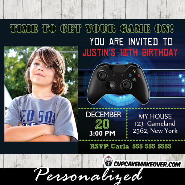 xbox wii video game photo invitation birthday party