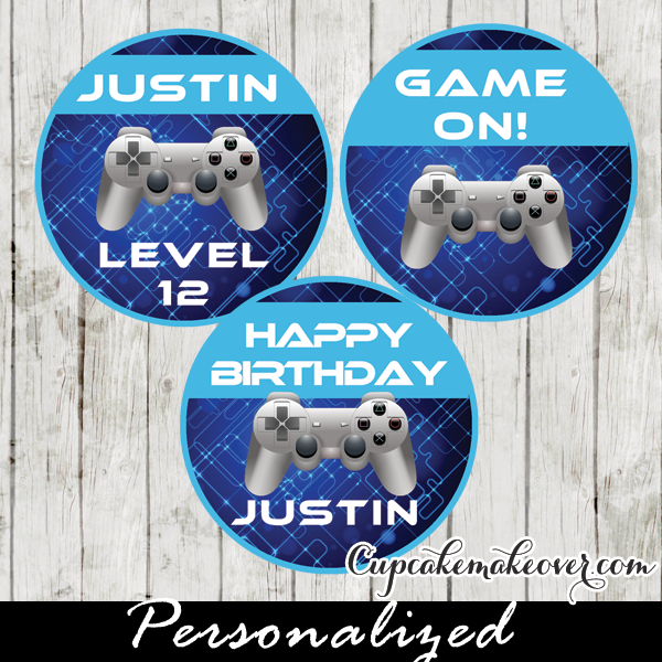 Blue Video Game Cake Toppers Personalized Tags