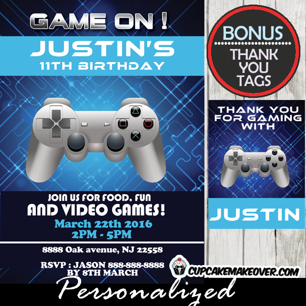 Blue Video Game Birthday Invitation Personalized D - Birthday invitation video