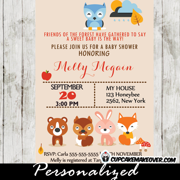 Woodland Animals Baby Shower Invitation Personalized Cupcakemakeover