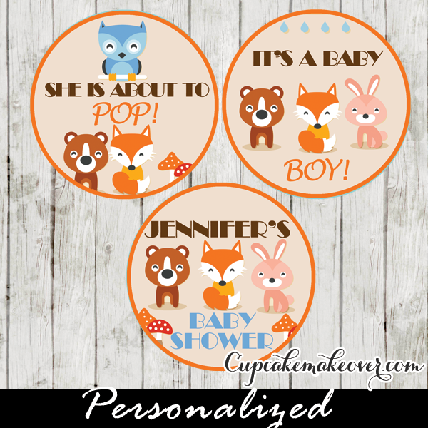 woodland creatures cupcake toppers favor tags
