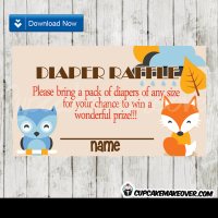 Fall themed baby shower woodland creatures diaper raffle tickets