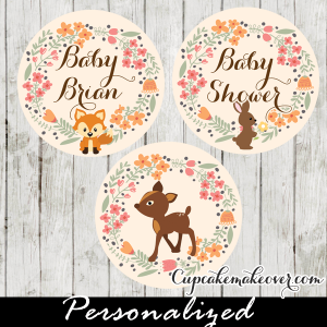 personalized woodland cupcake toppers forest animals tags