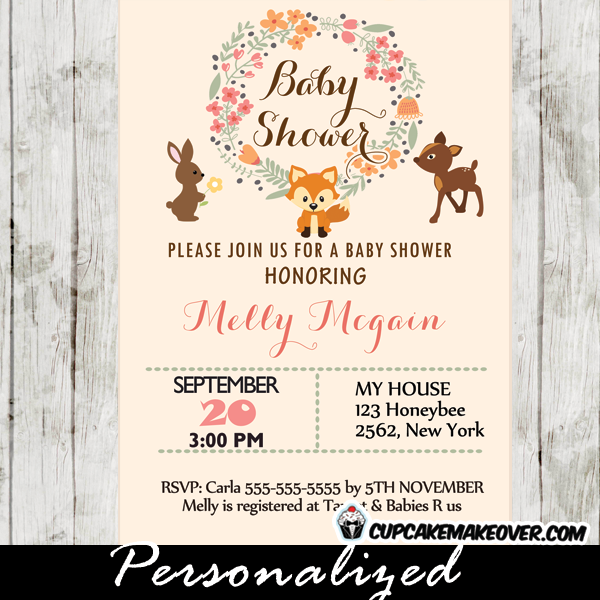 woodland creatures baby shower invitation  personalized